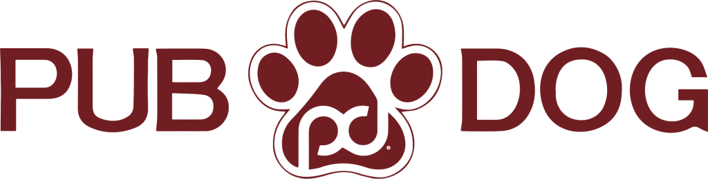Pub Dog Word logo with paw between the word pub and dog