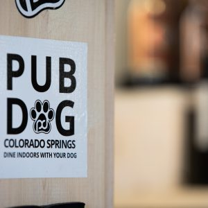 pub dog branded square bumper sticker