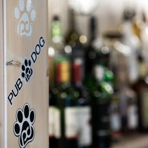 white paw print sticker, pub dog long word sticker, black paw print sticker