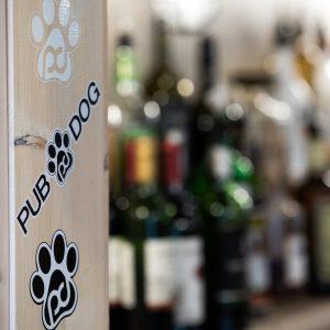 white paw print sticker, pub dog long word sticker, black paw print sticker